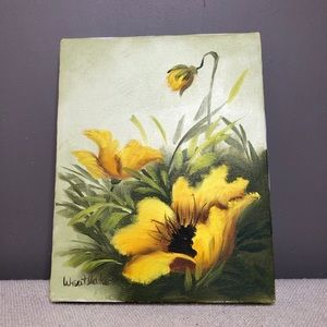 Vintage Yellow floral oil painting canvas 8x10